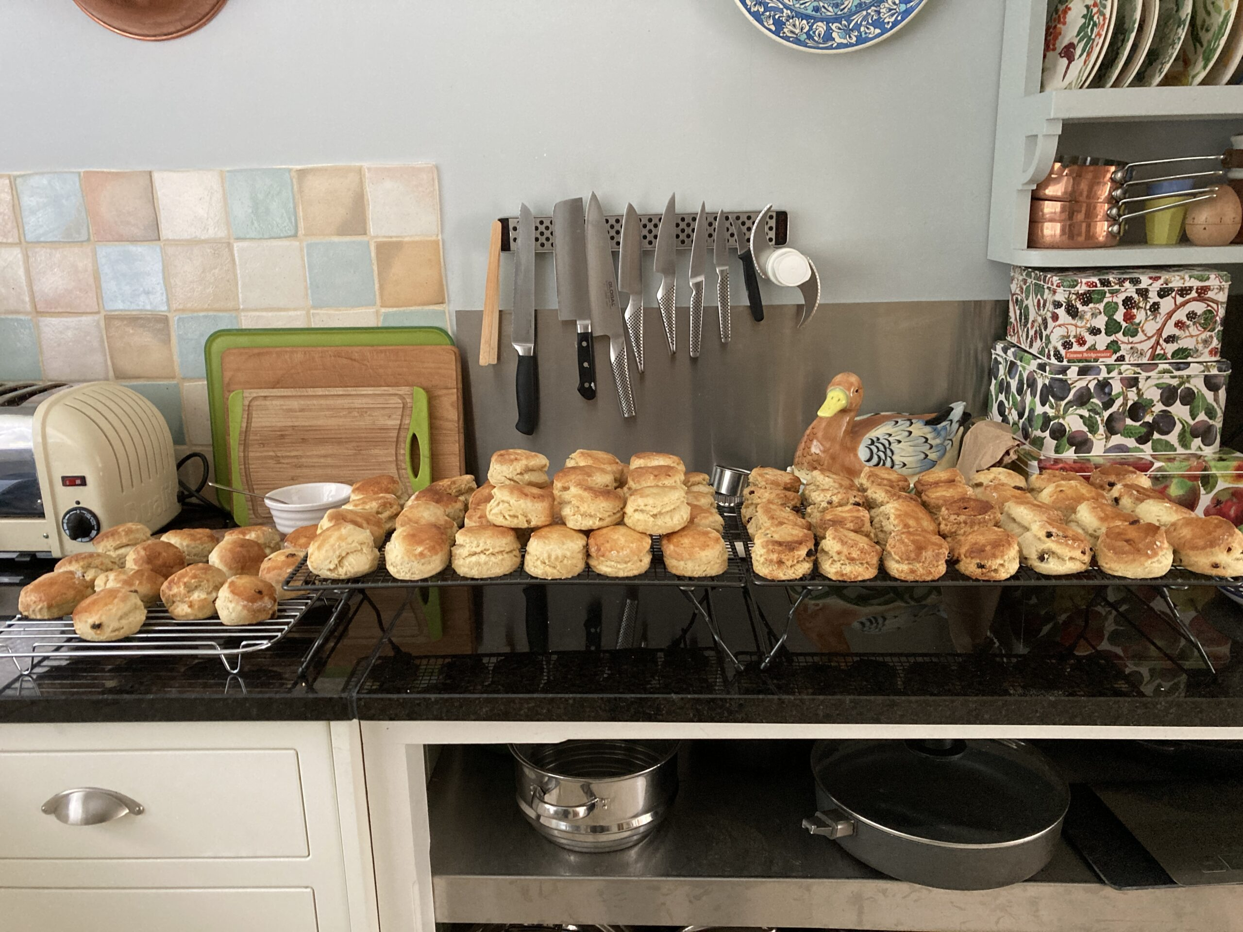 Some of the many scones homebaked ready for cream teas.